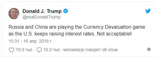 Трамп: Китай и Россия играют в девальвацию валют